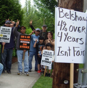 Strikers at Belshaw Brothers on the strike line in Auburn.